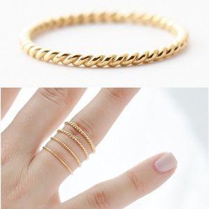 Jewelry - 18k Yellow Gold Braided Thin Ring, Wedding/Pinky